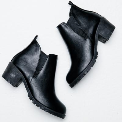 River&Moon短靴-極簡素面側鬆緊切爾西短靴-黑