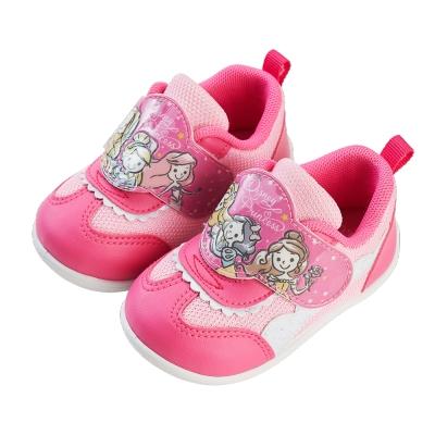 迪士尼童鞋 公主 粉嫩壓紋寶寶學步鞋
