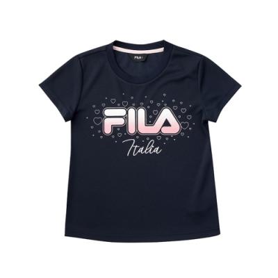 FILA KIDS 女童吸濕排汗短袖上衣-丈青 5TEV-4909-NV