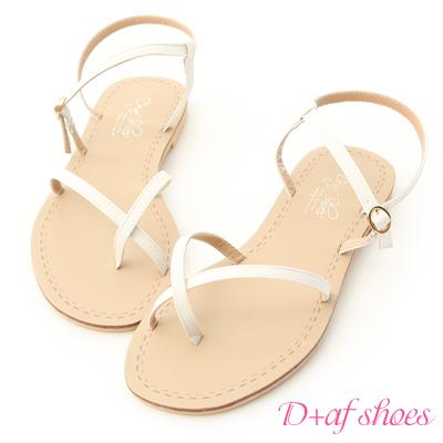 D+AF 自在氣息.交叉線條套指平底涼鞋*白