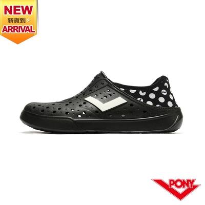 【PONY】ENJOY洞洞鞋 踩後跟 雨鞋 水鞋 中性款-小精靈/黑
