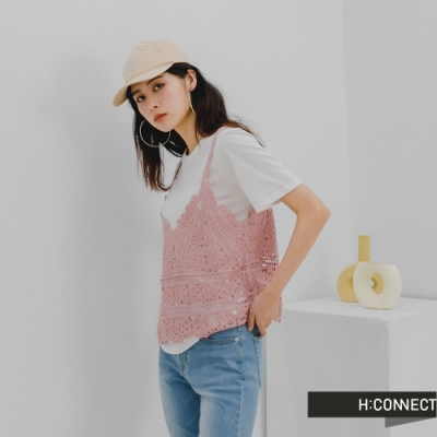 H:CONNECT 韓國品牌 女裝 -摟空雕花兩件式背心上衣-粉色