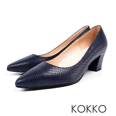 KOKKO - 都會時尚尖頭羊皮粗高跟鞋-壓紋藍