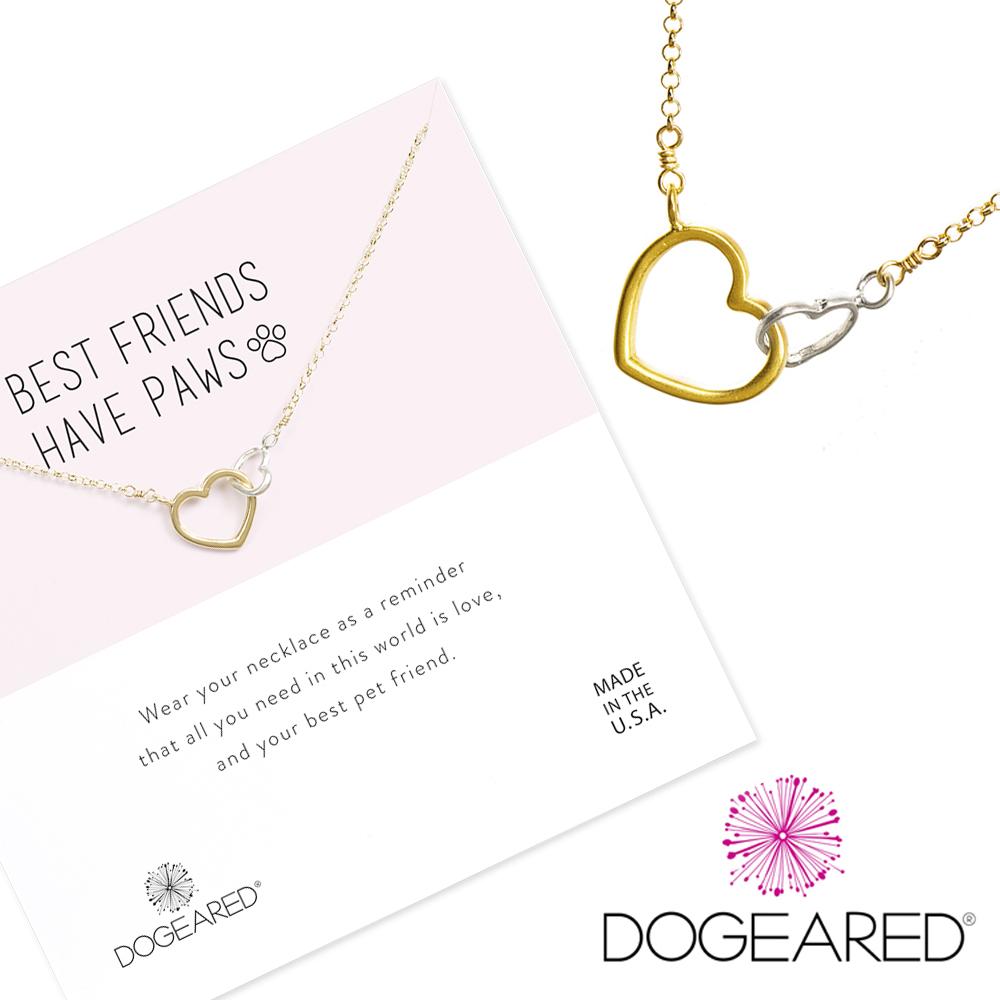 Dogeared best friends 擊掌愛心項鍊 銀色X金色許願項鍊 附原廠盒