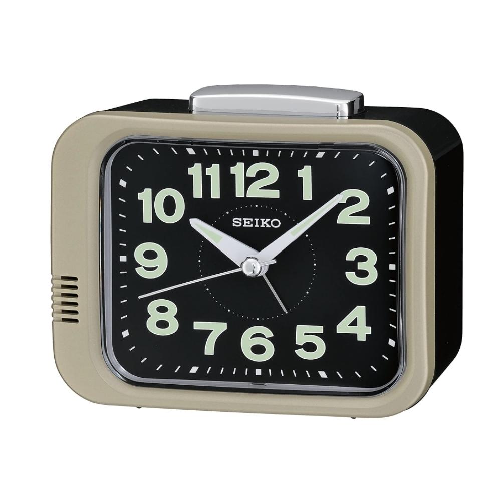 SEIKO 日本精工 夜光 滑動式秒針 響鈴鬧鐘(QHK028G)金/9.4X11cm