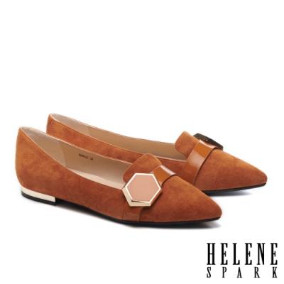 平底鞋 HELENE SPARK 時尚質感六角飾釦全真皮尖頭平底鞋-咖