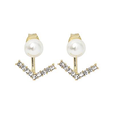 LOVER S TEMPO加拿大品牌 水晶船錨造型珍珠金色耳環