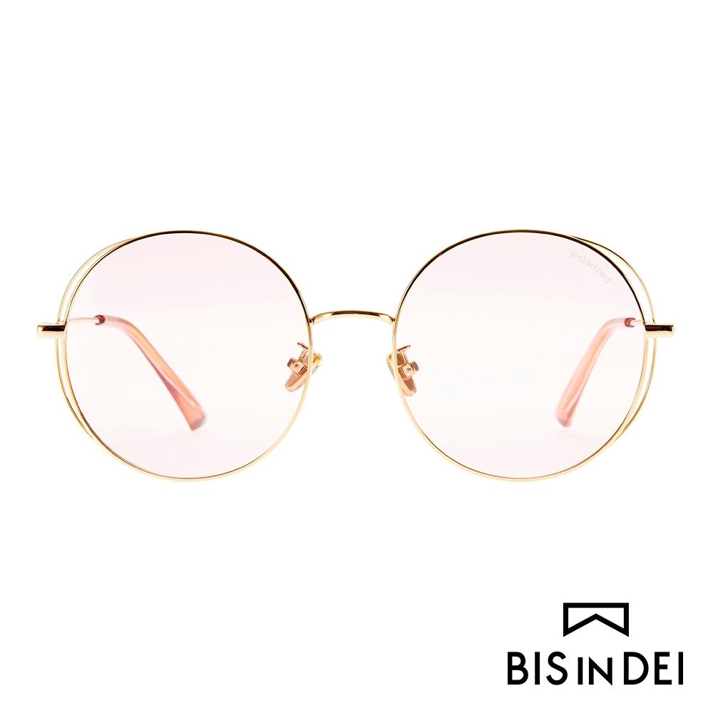 BIS IN DEI 幾何線條圓框太陽眼鏡-杏