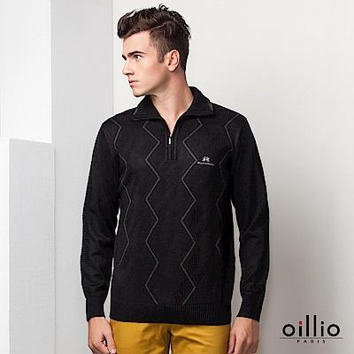 歐洲貴族oillio 長袖毛衣 門禁拉鍊款 簡單波紋 黑色