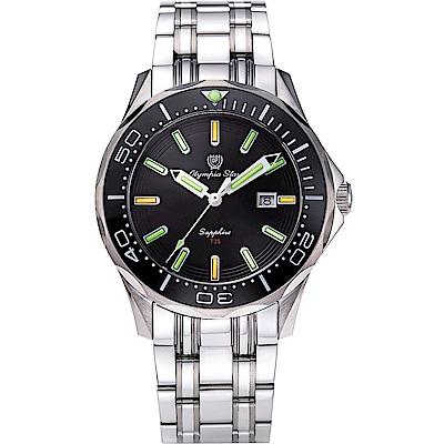 OlympiaStar 奧林比亞之星 神盾系列極限氚氣石英手錶(98024TGS)-黑