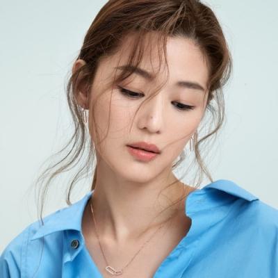 梨花HaNA 韓國925銀純銀全智賢方型鎖扣玫瑰金耳環