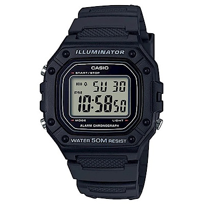 CASIO 多色方款造型實用數位休閒錶-黑(W-218H-1A)/43.2mm
