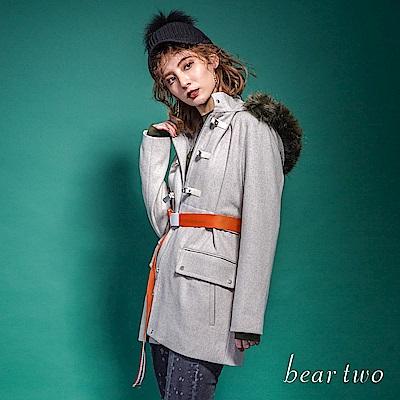 beartwo 優雅經典毛呢毛領大衣外套(藍色)