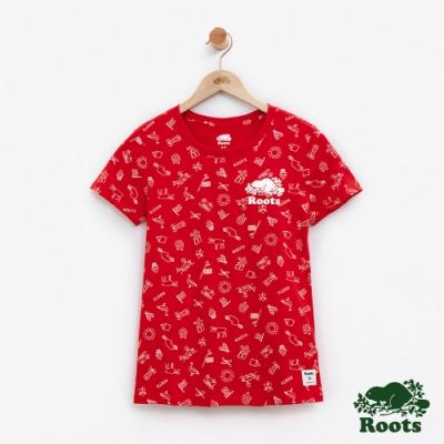 女裝Roots加拿大系列-滿版印花短袖T恤-紅
