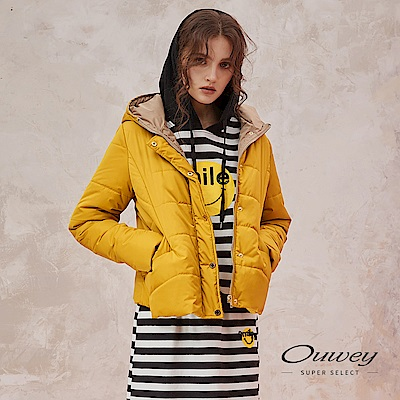 OUWEY歐薇 百搭造型鋪棉連帽外套(黃) @ Y!購物