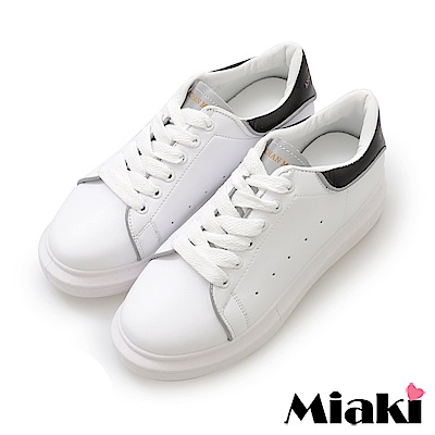 Miaki-休閒鞋.超眩反光厚底運動鞋-黑