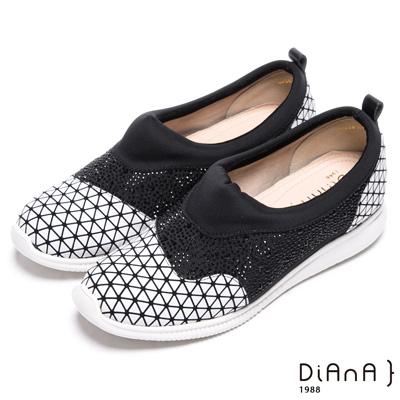 DIANA 摩登閃耀–幾何鑲鑽圓頭懶人休閒鞋-白