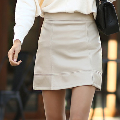 正韓 個性高腰微開衩皮質短裙 (共二色)-N.C21