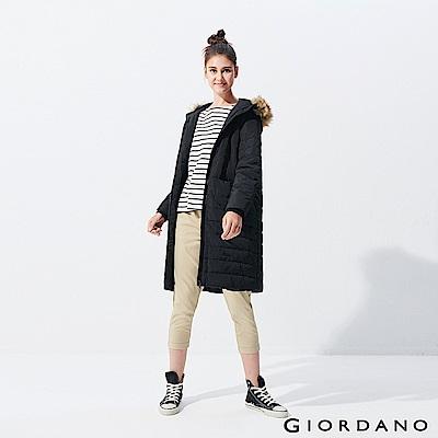 GIORDANO 女裝素色毛圈連帽長版鋪棉外套-99 標誌黑