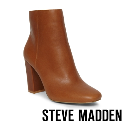 STEVE MADDEN-PIXIE 復古延伸腳型 微尖頭粗中跟靴-亮咖啡