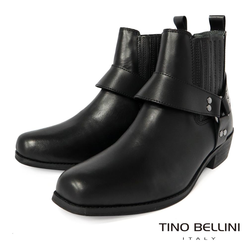 TINO BELLINI 男款 牛皮粗曠率性方頭短筒靴-黑