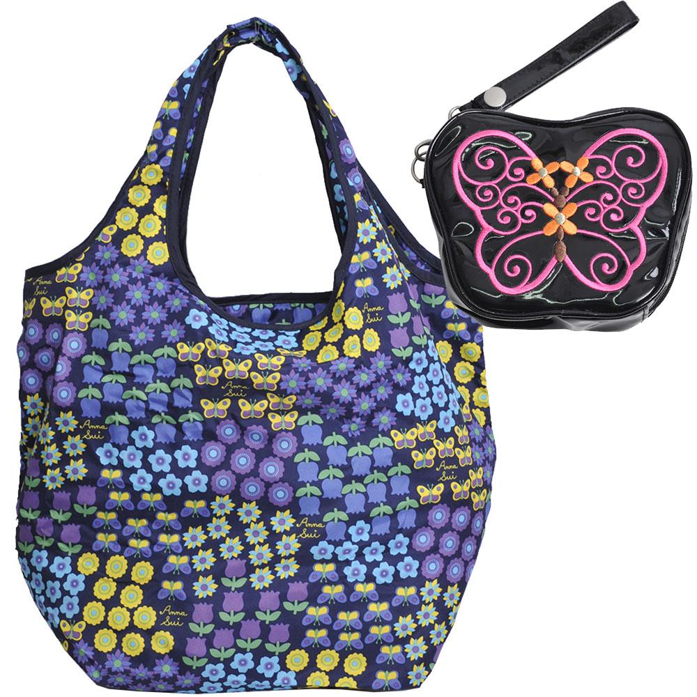 ANNA SUI 刺繡蝴蝶造型手拿機能購物袋手拿包套裝組(黑)