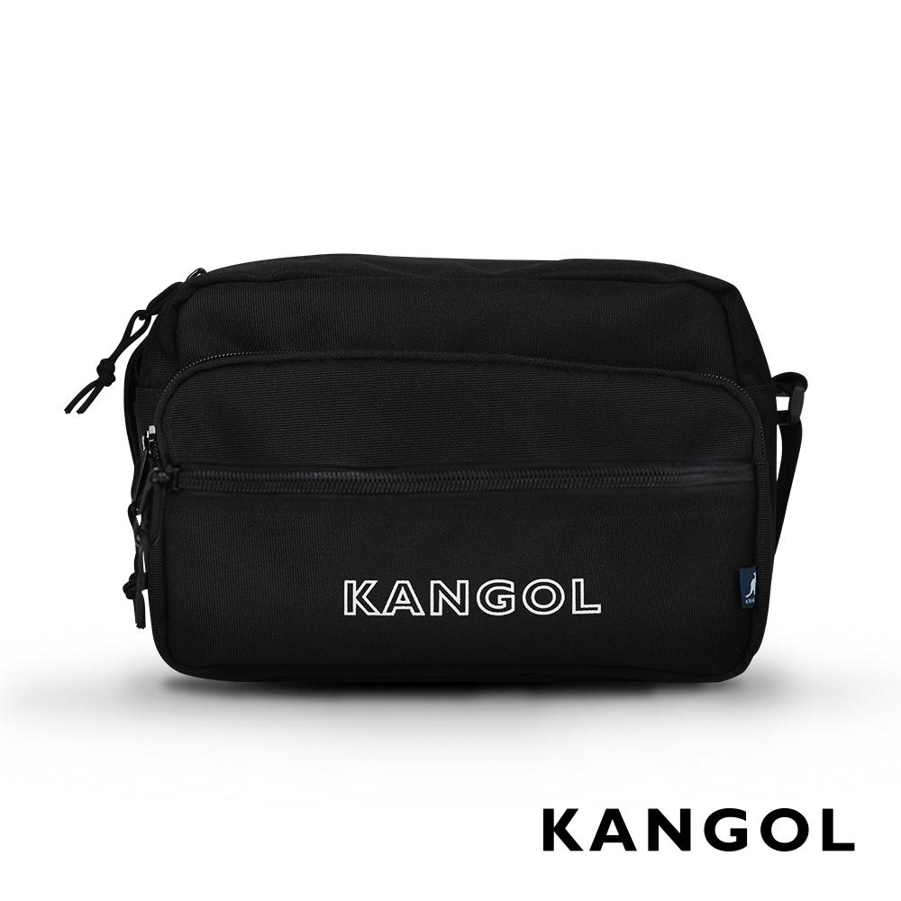 KANGOL LIBERTY系列 韓版潮流LOGO背帶橫式側背包-黑色 KG1192