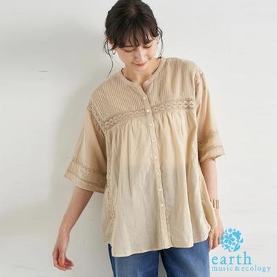 earth music 鏤空蕾絲拼接設計純棉開襟襯衫上衣