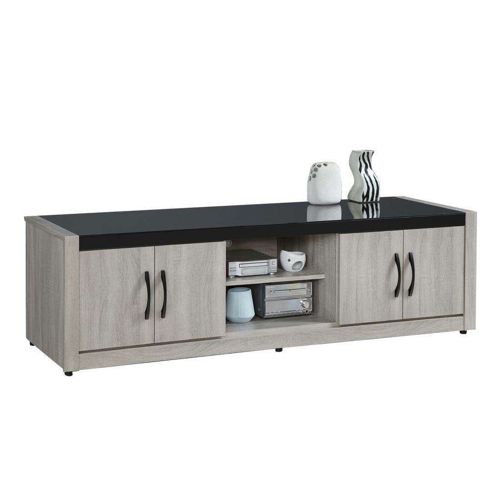 【AT HOME】簡約現代6尺鋼刷淺灰色電視櫃/長櫃/客廳櫃(清心)