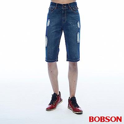 BOBSON 男款刷破牛仔短褲