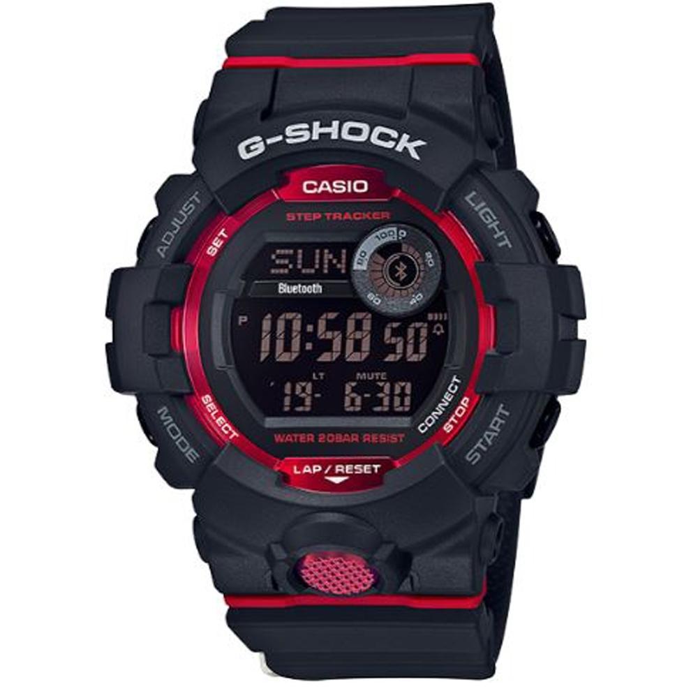 G-SHOCK百搭玩色風格運動計步藍芽錶(GBD-800-1)黑x紅/54.1mm