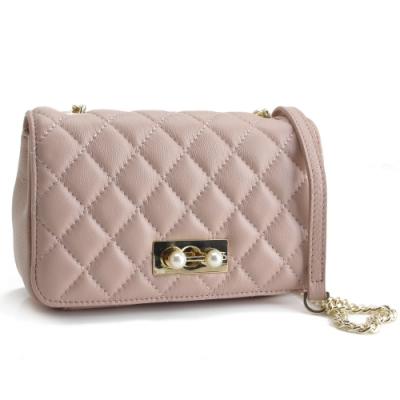 MOROM 真皮立體珍珠壓釦二用包(粉色)