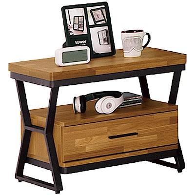 綠活居 派米亞時尚2尺木紋床頭櫃/收納櫃-60x40x51cm免組