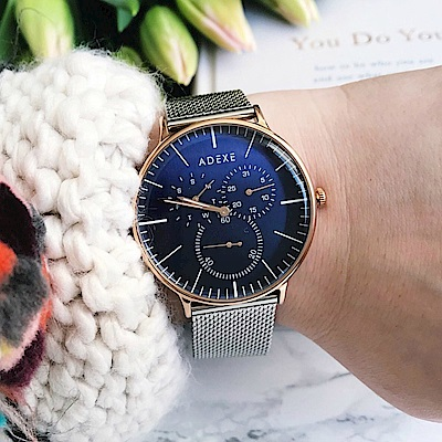 ADEXE 英國時尚手錶 THEY單眼系列 藍錶盤x玫瑰金錶框米蘭錶帶41mm