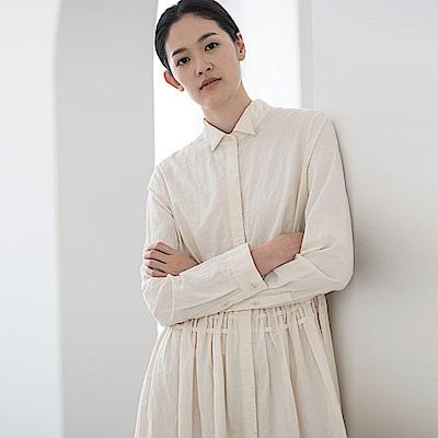 旅途原品_時年_原創設計棉質褶皺抽繩收腰連衣裙-米白