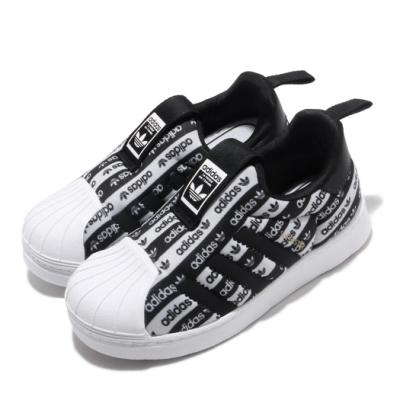 adidas 休閒鞋 Superstar 360 I 襪套式 童鞋 愛迪達 三葉草 貝殼頭 滿版logo 小童 黑 白 EF6642