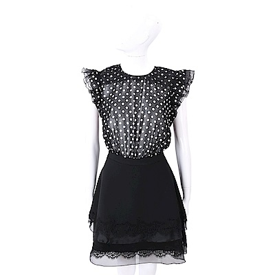 ELISABETTA FRANCHI 可拆式 蕾絲細節黑色圓點雪紡紗質洋裝