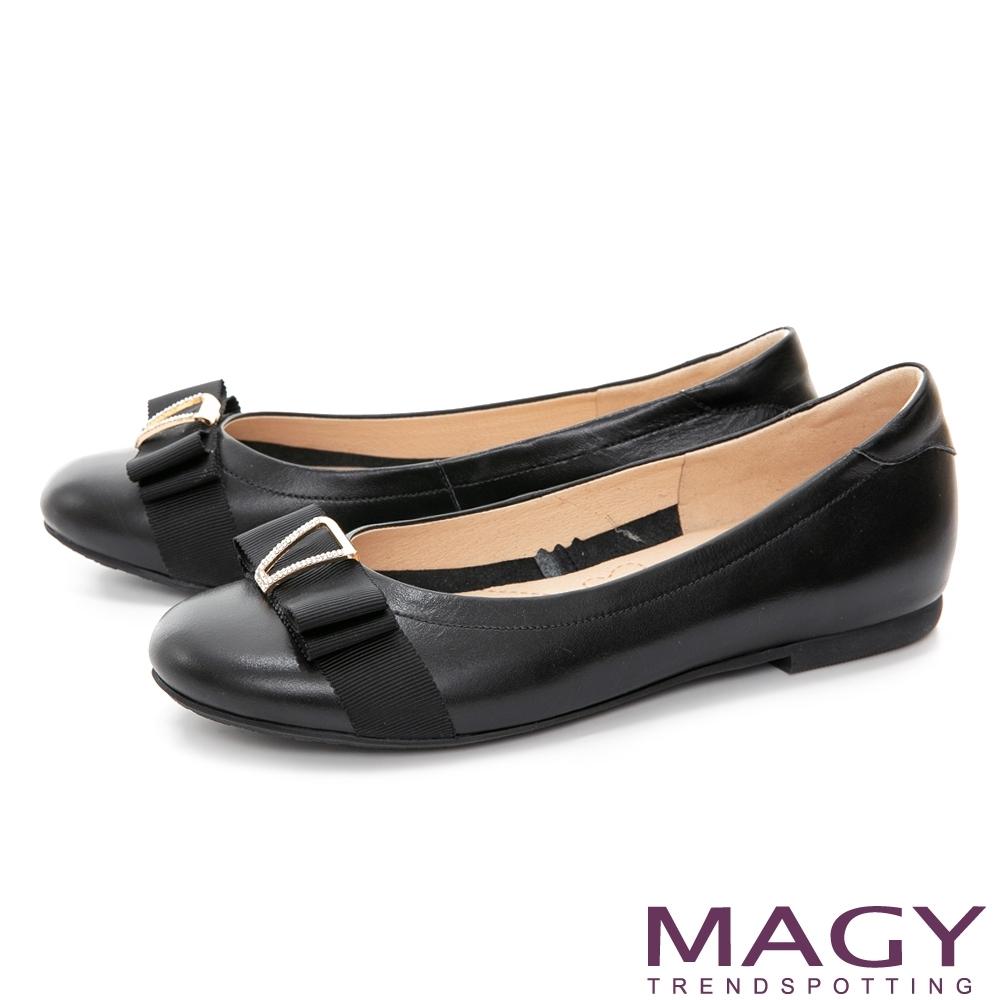 MAGY 水鑽織帶蝴蝶結真皮 女 平底鞋 黑色