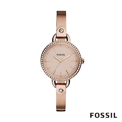 FOSSIL Classic Minute 玫瑰金鑲鑽不銹鋼鍊錶 32mm BQ3163