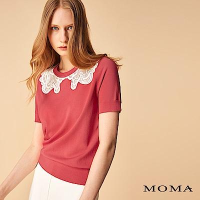 MOMA 繡花蕾絲領針織上衣
