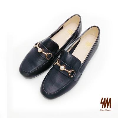 SM-帥氣復古系列-英倫經典全真皮珍珠雙C馬蹄扣樂福鞋-黑色(兩色)