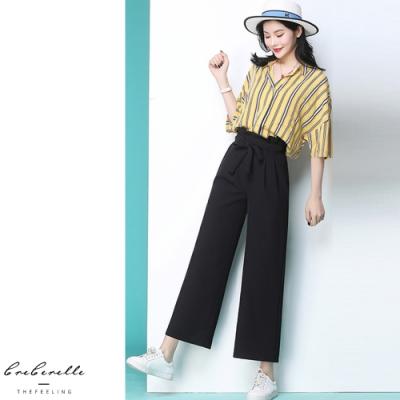 2F韓衣-韓系鬆緊腰綁帶修身寬褲-2色(S-XL)