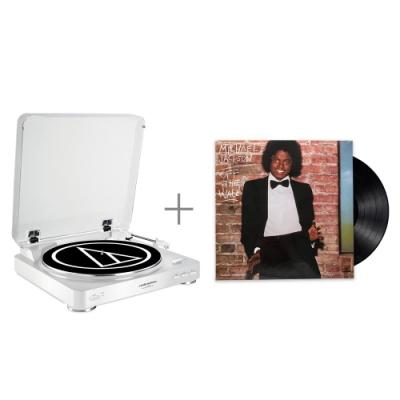 鐵三角 AT-LP60 WH 黑膠唱盤 與 麥可傑克森 / 牆外 黑膠唱片 組合
