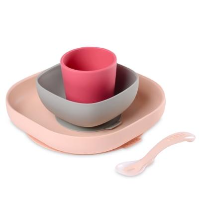 奇哥 BEABA 寶寶矽膠學習餐具組-粉色