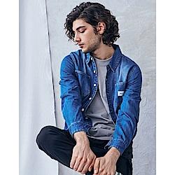 NAVY-刷色牛仔襯衫-情侶款-(兩色)-男【SNA011】