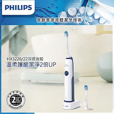 【Philips 飛利浦】Sonicare潔淨音波震動牙刷/電動牙刷HX3226/22(藍)