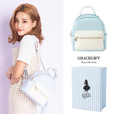Disney collection by grace gift-愛麗絲蝴蝶結柔彩雙色後背包 藍