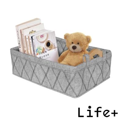 Life Plus 品味格調木柄毛氈收納籃/置物籃 (灰色)