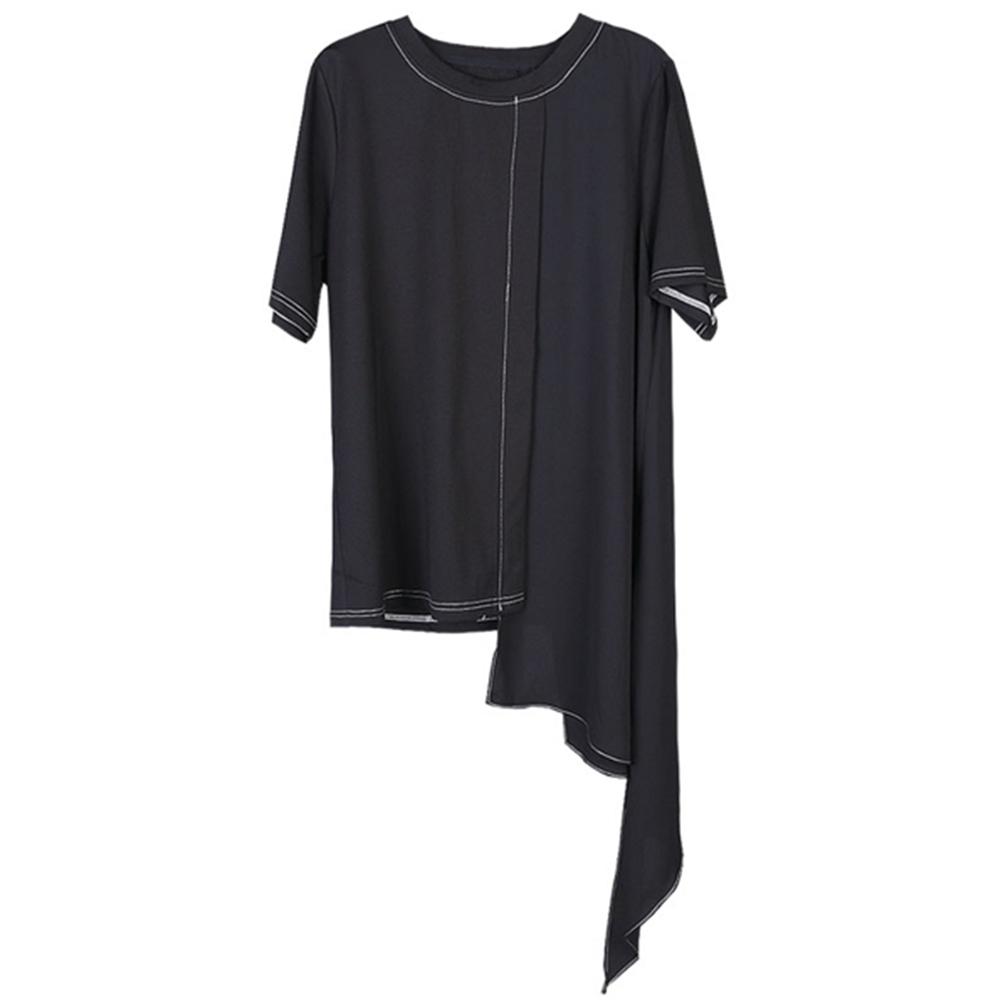 設計所在Style-不規則半袖T恤小眾設計感雪紡拼接時尚短袖T恤