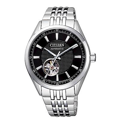CITIZEN星辰 開芯鏤空時尚機械腕錶(NH9110-81E)